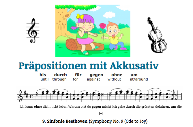 german accusative prepositions learn with a song. Black Bedroom Furniture Sets. Home Design Ideas